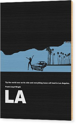 La Night Poster Wood Print by Naxart Studio