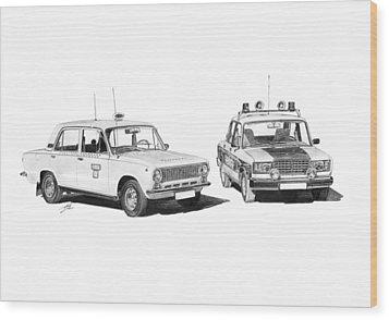 Lada Vaz 21011 Taxi 2107 Police Wood Print by Gabor Vida