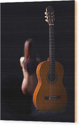 Lady And Guitar Wood Print by Dario Infini