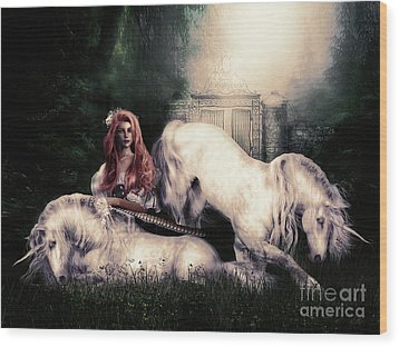 Lady And The Unicorns Wood Print by Shanina Conway
