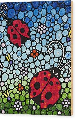 Ladybug Art - Joyous Ladies 2 - Sharon Cummings Wood Print by Sharon Cummings