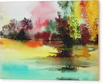 Lake In Colours Wood Print by Anil Nene