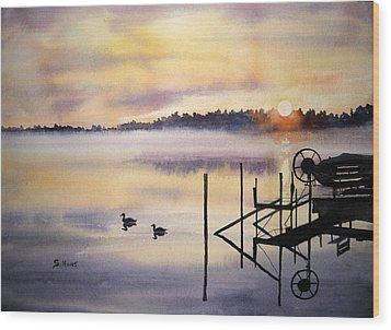 Lake Mist Wood Print by Shirley Braithwaite Hunt