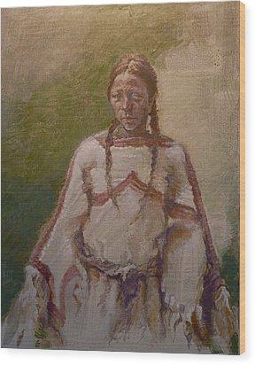 Lakota Woman Wood Print by Ellen Dreibelbis