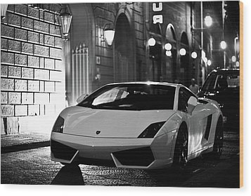 Lambo Noir Wood Print by Patrick English