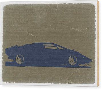 Lamborghini Countach Wood Print by Naxart Studio