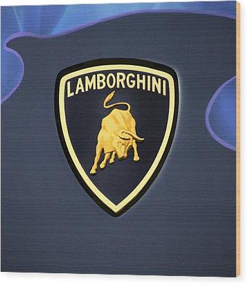 Lamborghini Emblem Wood Print by Mike McGlothlen