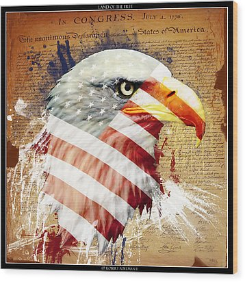 Land Of The Free Wood Print by Robert  Adelman