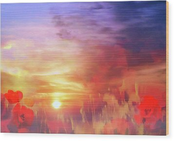 Landscape Of Dreaming Poppies Wood Print by Valerie Anne Kelly