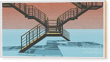 Large Stair 38 On Cyan And Strange Red Background Abstract Arhitecture Wood Print by Pablo Franchi