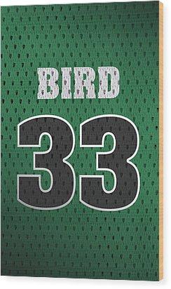 Larry Bird Boston Celtics Retro Vintage Jersey Closeup Graphic Design Wood Print by Design Turnpike
