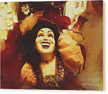Laughing Gypsy Wood Print by Deborah MacQuarrie-Haig