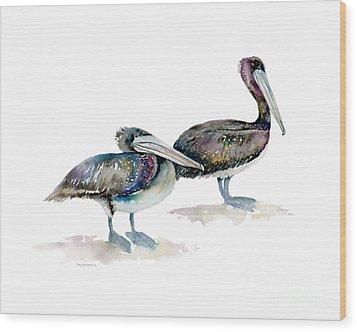 Laurel And Hardy, Brown Pelicans Wood Print by Amy Kirkpatrick