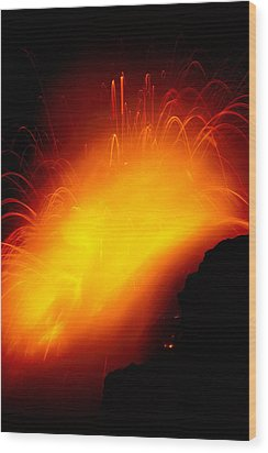 Lava And Steam Wood Print by Peter French - Printscapes