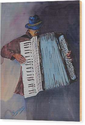 Le Vieil Accordeoniste  The Old Accordion Wood Print by Dominique Serusier