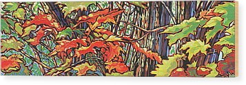 Leaves Long Wood Print by Nadi Spencer