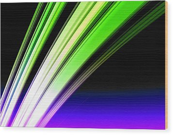 Leaving Saturn In Cobalt And Lime Wood Print by Pet Serrano