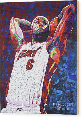 Lebron Dunk Wood Print by Maria Arango