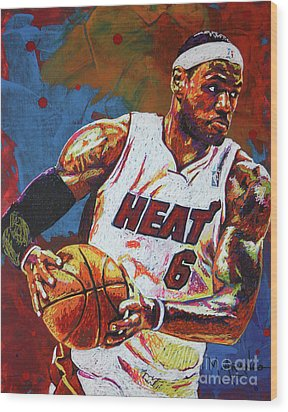 Lebron James 3 Wood Print by Maria Arango