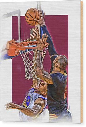 Lebron James Cleveland Cavaliers Oil Art Wood Print by Joe Hamilton