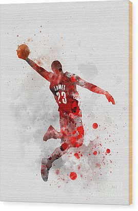 Lebron James Wood Print by Rebecca Jenkins