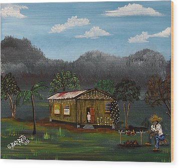 Lecheon A La Bara Wood Print by Gloria E Barreto-Rodriguez