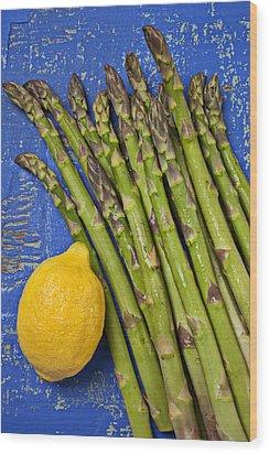 Lemon And Asparagus  Wood Print by Garry Gay