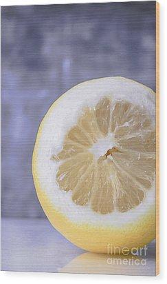Lemon Half Wood Print by Edward Fielding