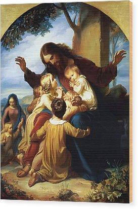 Let The Children Come To Me Wood Print by Carl Vogel von Vogelstein