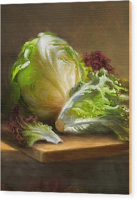 Lettuce Wood Print by Robert Papp