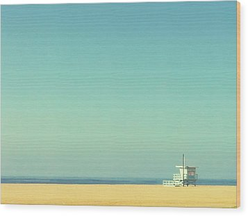 Life Guard Tower Wood Print by Denise Taylor