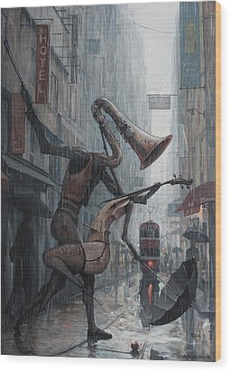 Life Is  Dance In The Rain Wood Print by Adrian Borda