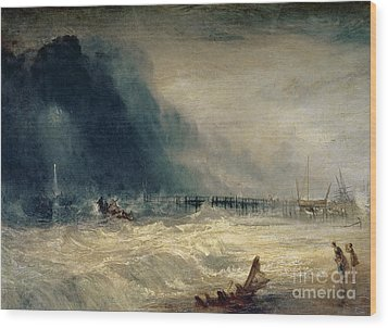 Lifeboat And Manby Apparatus Going Off To A Stranded Vessel Making Signal Of Distress Wood Print by Joseph Mallord William Turner