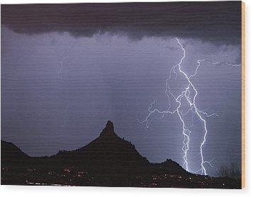 Lightnin At Pinnacle Peak Scottsdale Arizona Wood Print by James BO  Insogna