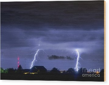 Lightning Thunderstorm July 12 2011 Two Strikes Over The City Wood Print by James BO  Insogna