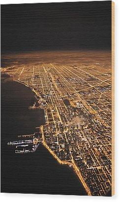 Lights Of Chicago Burn Brightly Wood Print by Jim Richardson