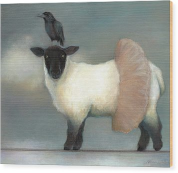 ...like Lambs.. Wood Print by Katherine DuBose Fuerst