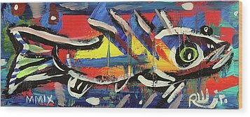Lil Funky Folk Fish Number Nine Wood Print by Robert Wolverton Jr