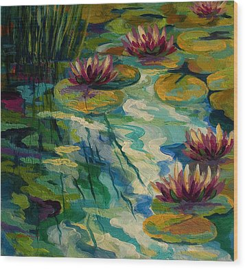 Lily Pond II Wood Print by Marion Rose