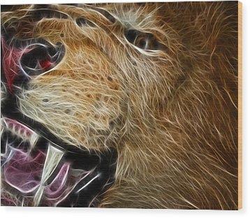 Lion Fractal Wood Print by Shane Bechler