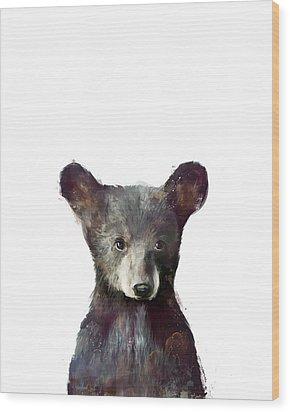 Little Bear Wood Print by Amy Hamilton