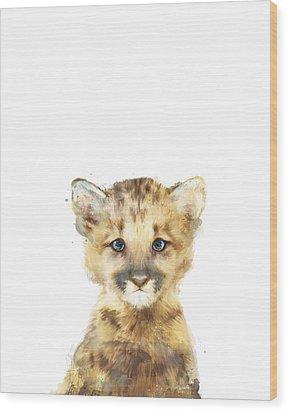 Little Mountain Lion Wood Print by Amy Hamilton