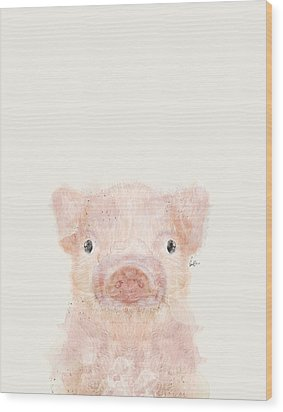 Little Pig Wood Print by Bri B