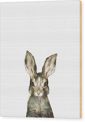 Little Rabbit Wood Print by Amy Hamilton