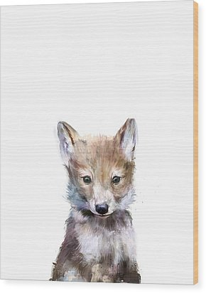 Little Wolf Wood Print by Amy Hamilton