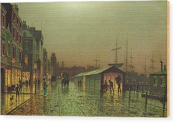 Liverpool Docks Wood Print by John Atkinson Grimshaw