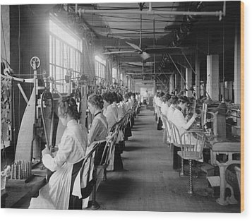 Lock And Drill Department Assembly Line Wood Print by Everett