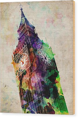 London Big Ben Urban Art Wood Print by Michael Tompsett
