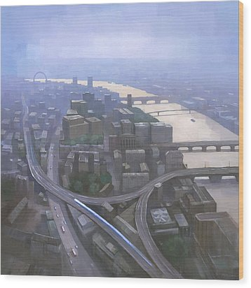 London, Looking West From The Shard Wood Print by Steve Mitchell