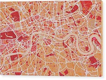London Map Art Red Wood Print by Michael Tompsett